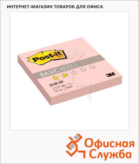 фото: Блок для записей с клейким краем Post-It Basic розовый пастельный, 76x76мм, 100 листов, 654R-BP