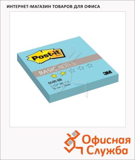 Блок для записей с клейким краем Post-It Basic голубой, пастельный, 76x76мм, 100 листов, 654R-BB