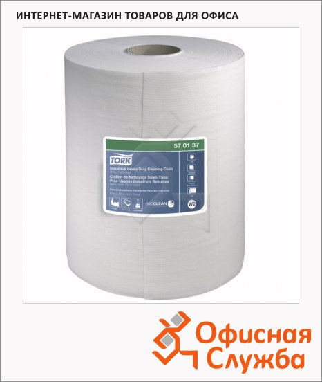 Протирочный материал Tork нетканый W1/W2/W3, 570137, в рулоне, суперпрочный, 60.8м, 1 слой, белый
