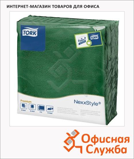 фото: Салфетки сервировочные Tork Premium зеленые 39х38см, 2 слоя, 50шт, 478792