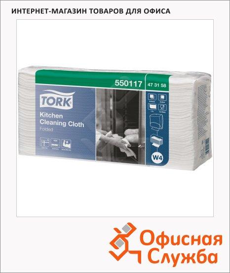 Протирочные салфетки Tork нетканые W4, 550117, листовые, термоустойчивые, 60шт, 1 слой, белые