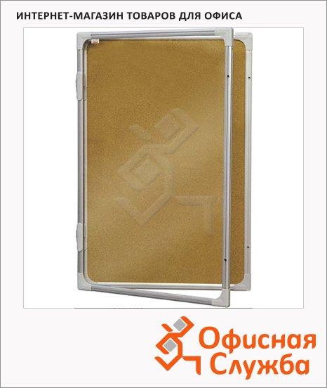 Доска-витрина 2x3 GK 296 120х90, коричневая, пробковая, алюминиевая рама, интерьерная