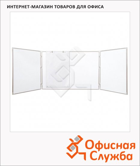 фото: Доска магнитная маркерная 2X3 TRS 1510 150/300х100 см белая, лаковая, алюминиевая рама, двустворчатая