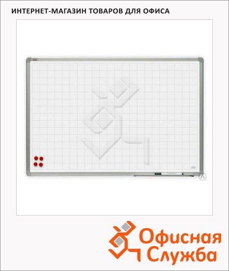 фото: Доска магнитная маркерная 2X3 TSQ 1510P3 150х100см белая, керамическая, алюминиевая рама, в клетку