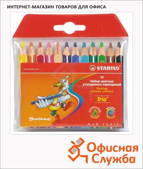 фото: Набор цветных карандашей Stabilo Trio 203 12 цветов утолщенные, укороченные