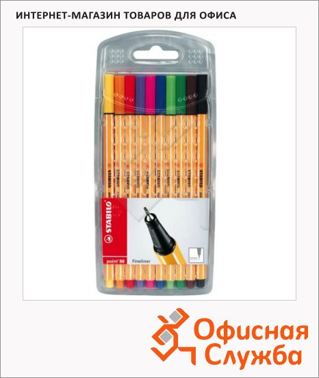 Ручка капиллярная Stabilo Point 88/55 20 цветов, 0.4мм, блистер