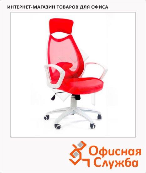 Кресло руководителя Chairman 840 ткань, крестовина пластик, белая, красная