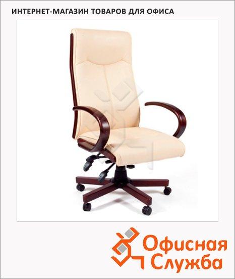 Кресло руководителя Chairman 411 иск. кожа, крестовина дерево, бежевая, комбинированная с искусственной кожей