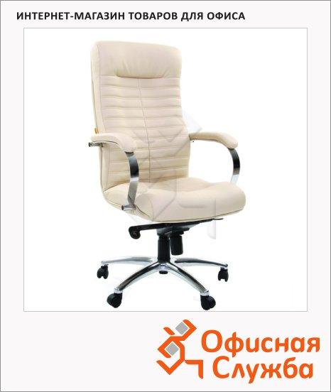 фото: Кресло руководителя Chairman 480 иск. кожа крестовина хром, бежевая