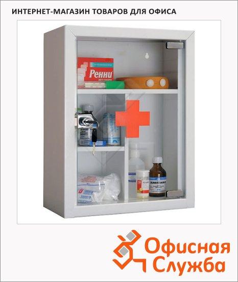фото: Аптечка офисная Amd MDA 39G 2 съёмные полки ключевой замок, 390х300х160мм
