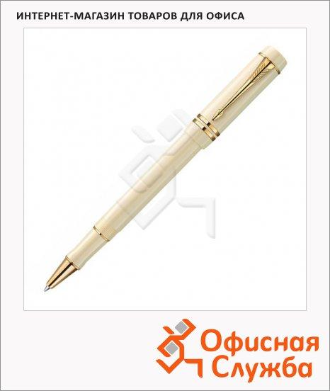Ручка-роллер Parker Duofold T74 F, черная, бежевый корпус
