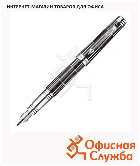 Ручка перьевая Parker Premier Luxury F565 F, черный/серебристый корпус