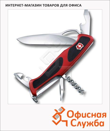 фото: Нож перочинный 130мм Victorinox RangerGrip 61 0.9553.MC 11 функций, 2 уровня, красно-черный