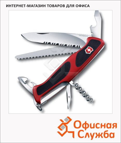 фото: Нож перочинный 130мм Victorinox RangerGrip 155 0.9563.WC 12 функций, 3 уровня, красно-черный