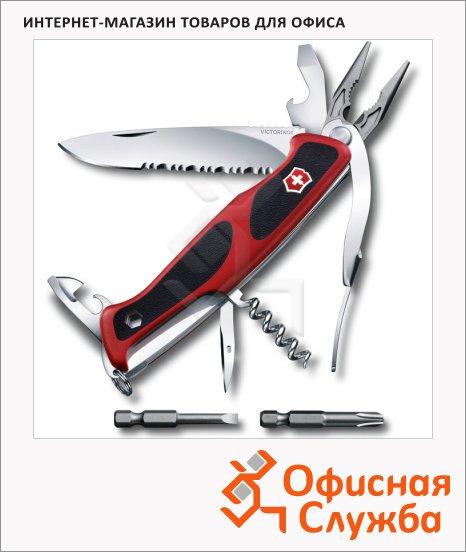 фото: Нож перочинный 130мм Victorinox RangerGrip 174 0.9728.WC 17 функций, 3 уровня, красно-черный