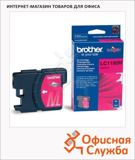 Картридж струйный Brother LC1100HBK/HYY/HYM/HYC/BK/Y/M/C LC1100HYM, пурпурный повышенной ёмкости