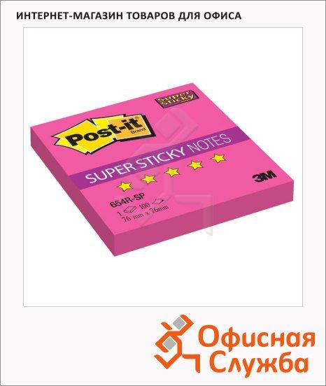 Блок для записей с клейким краем Post-It Super Sticky розовый, 76х76мм, 90 листов, неон, 654R-SP