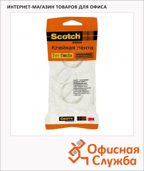 фото: Клейкая лента канцелярская Scotch 12мм х 25м прозрачная, 2шт/уп