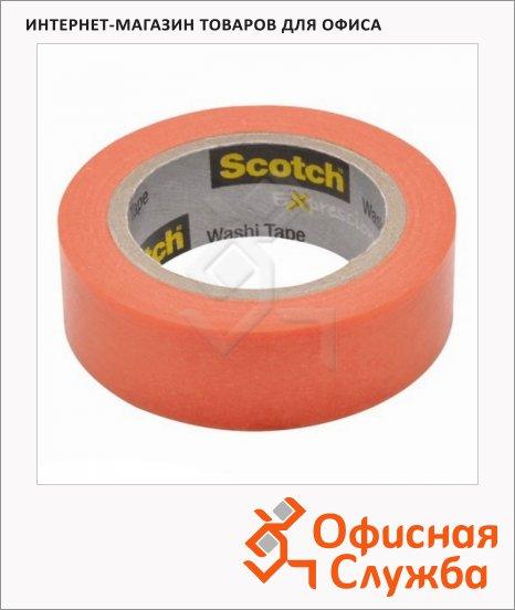 Клейкая лента декоративная Scotch Washi 15мм х10м, персиковая