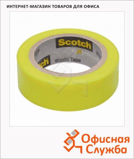 Клейкая лента декоративная Scotch Washi 15мм х10м, лайм