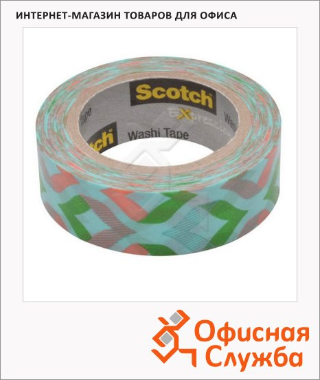 Клейкая лента декоративная Scotch Washi 15мм х10м, мята