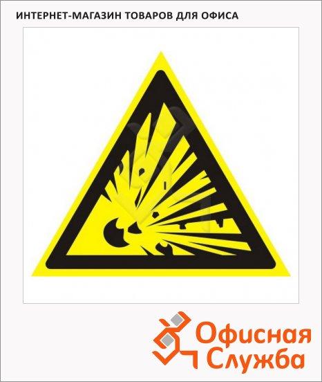 фото: Знак Взрывоопасно Гасзнак 200х200мм самоклеящаяся пленка ПВХ, W02