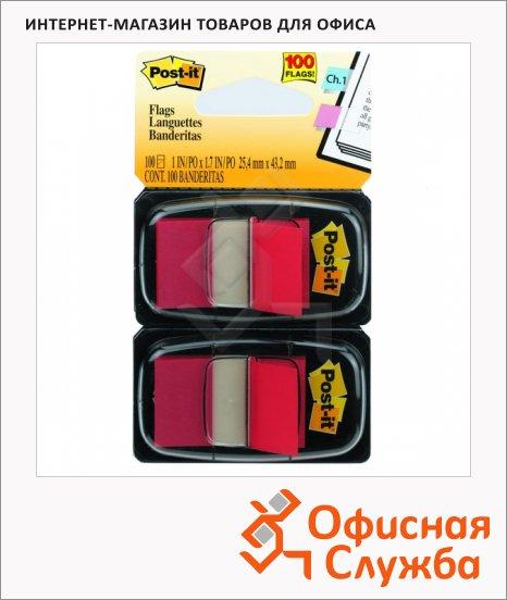Клейкие закладки пластиковые Post-It Professional красный, 25х38мм, 2х50 листов, в диспенсере, 680-RD2