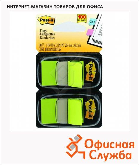 Клейкие закладки пластиковые Post-It Professional светло-зеленый, 25х38мм, 2х50 листов, в диспенсере, 680-BG2