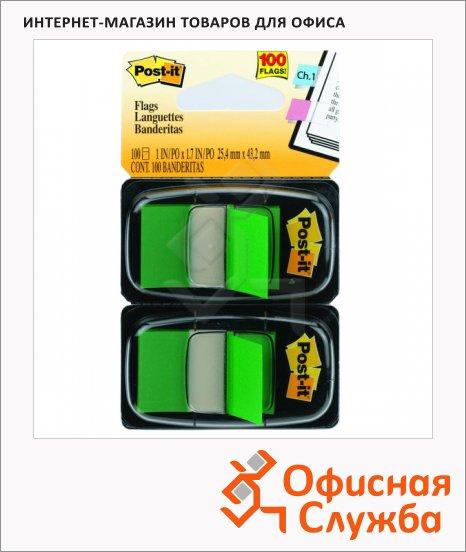 Клейкие закладки пластиковые Post-It Professional зеленый, 25х38мм, 2х50 листов, в диспенсере, 680-GN2