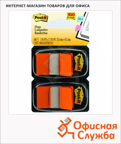 Клейкие закладки пластиковые Post-It Professional оранжевый, 25х38мм, 100шт, в диспенсере, 680-OE2