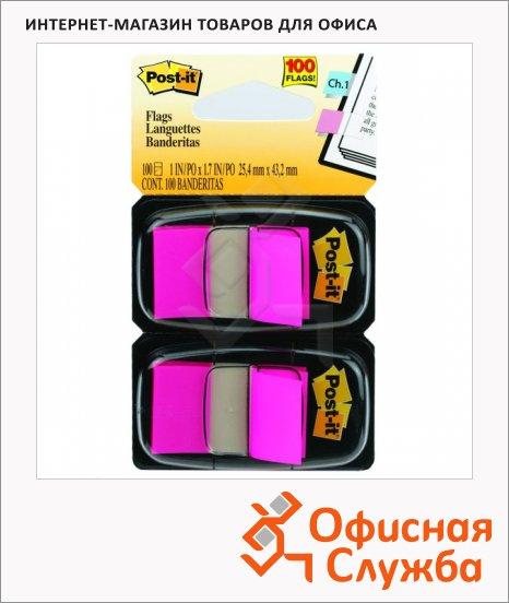 фото: Клейкие закладки пластиковые Post-It Professional 25х38мм 2шт х 50 листов, в диспенсере, розовые, 680-BP2