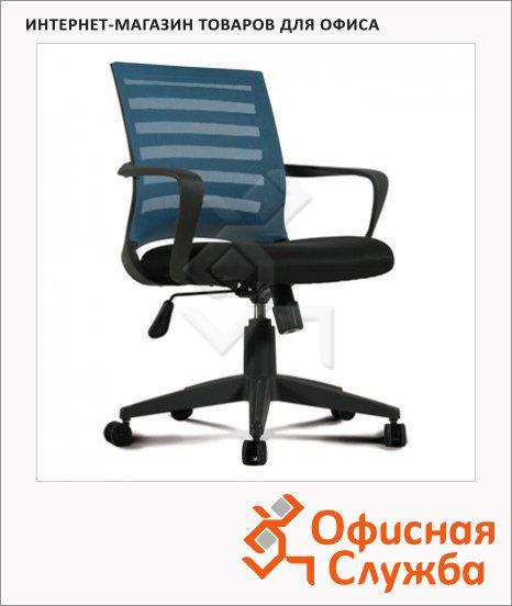Кресло офисное Brabix Carbon MG-303 ткань, черная, крестовина пластик, голубая