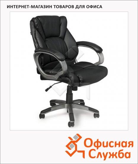 фото: Кресло руководителя Brabix Eldorado EX-504 иск. кожа черная, крестовина хром