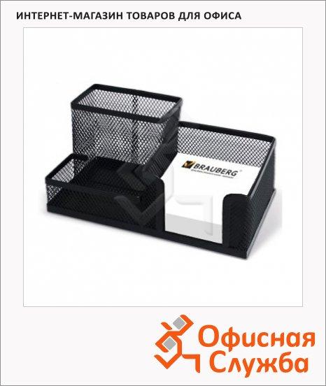 фото: Органайзер настольный Brauberg Germanium 3 секции 102х186х95мм, черный, 231986