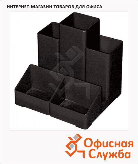 фото: Органайзер настольный Brauberg 5 секций 109х95х101.5мм, черный, 5 230 893