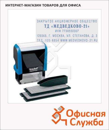 фото: Штамп прямоугольный самонаборный Trodat Printy Typomatic 5 строк 58х22мм, синий