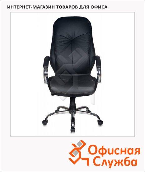 Кресло руководителя Бюрократ T-9930SL нат. кожа, черная, крестовина хром