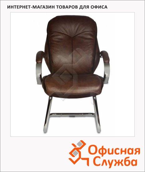 Кресло посетителя Бюрократ T-9930AV нат. кожа, коричневая
