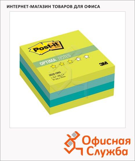 Блок для записей с клейким краем Post-It Optima Весна, 3 цвета неон, 76х76мм, 400 листов, 2028-ONG