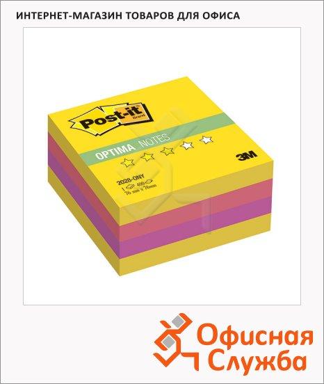 фото: Блок для записей с клейким краем Post-It Optima Лето 3 цвета неон, 76х76мм, 400 листов, 2028-ONY