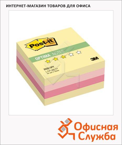 фото: Блок для записей с клейким краем Post-It Optima Осень 76х76мм, 400 листов, 3 цвета пастельный, 2028-OPY