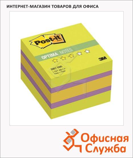 Блок для записей с клейким краем Post-It Optima Весна, 3 цвета неон, 400 листов, 51x51мм, 2051-ON