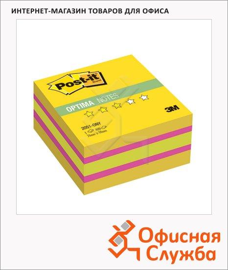 Блок для записей с клейким краем Post-It Optima Лето, 3 цвета неон, 400 листов, 51x51мм, 2051-ONY