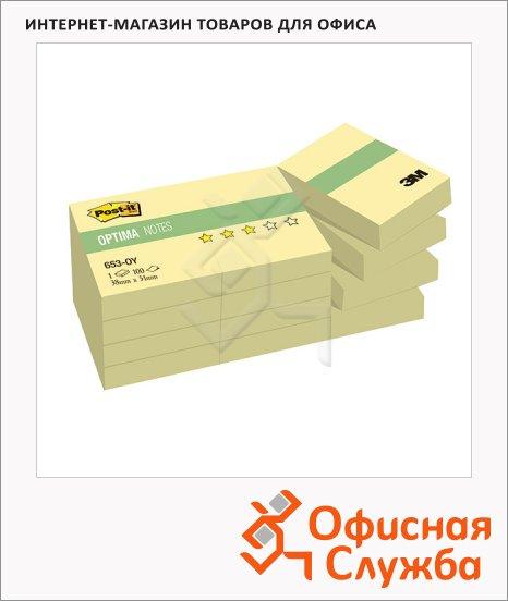 Блок для записей с клейким краем Post-It Optima канареечно-желтый, пастельный, 38х51мм, 12х100 листов, 653-OY