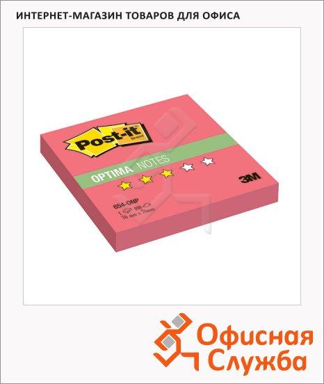 фото: Блок для записей с клейким краем Post-It Optima Лето 76x76мм, 100 листов, маковый неон, 654-ONP