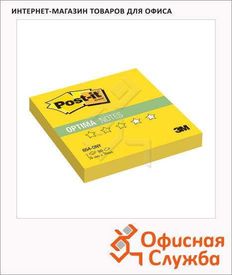 Блок для записей с клейким краем Post-It Optima Лето, 76x76мм, 100 листов, желтый неон, 654-ONY