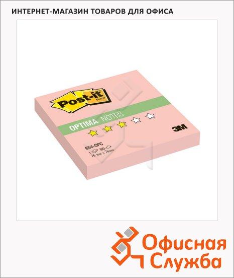 Блок для записей с клейким краем Post-It Optima Осень, 76х76мм, 100 листов, розовая пастель, 654-OPC