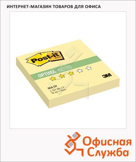 Блок для записей с клейким краем Post-It Optima Осень, 76х76мм, 100 листов, желтый неон, 654-OY