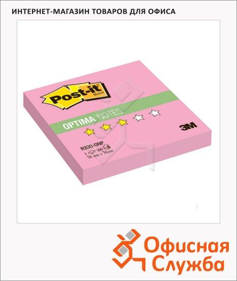 фото: Блок для записей с клейким краем Post-It Optima розовый 76х76мм, 100 листов, Z-блок, неон, R330-ONP