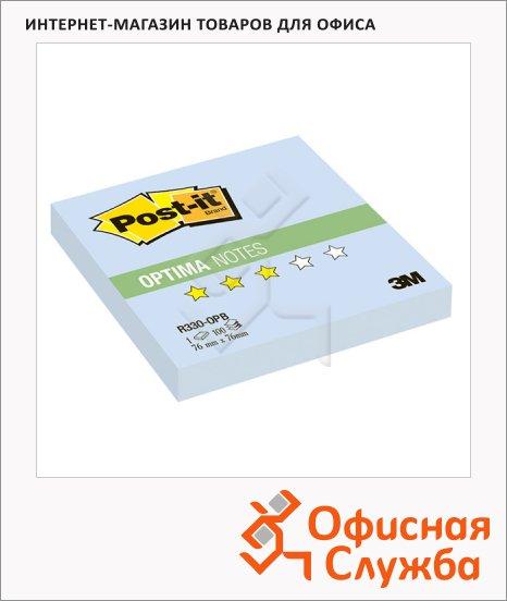 Блок для записей с клейким краем Post-It Optima голубой, 76х76мм, 100 листов, Z-блок, R330-OPB